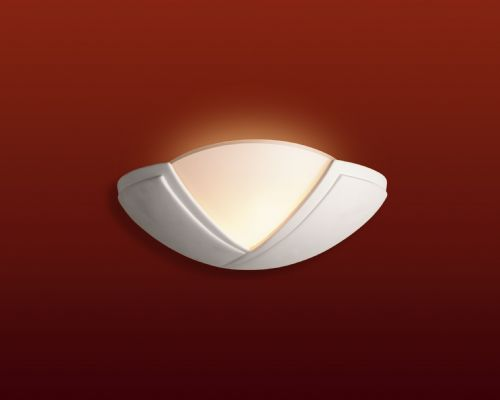 Firstlight C322UN Unglazed with Acid White Glass Ceramic Wall Light - 100w